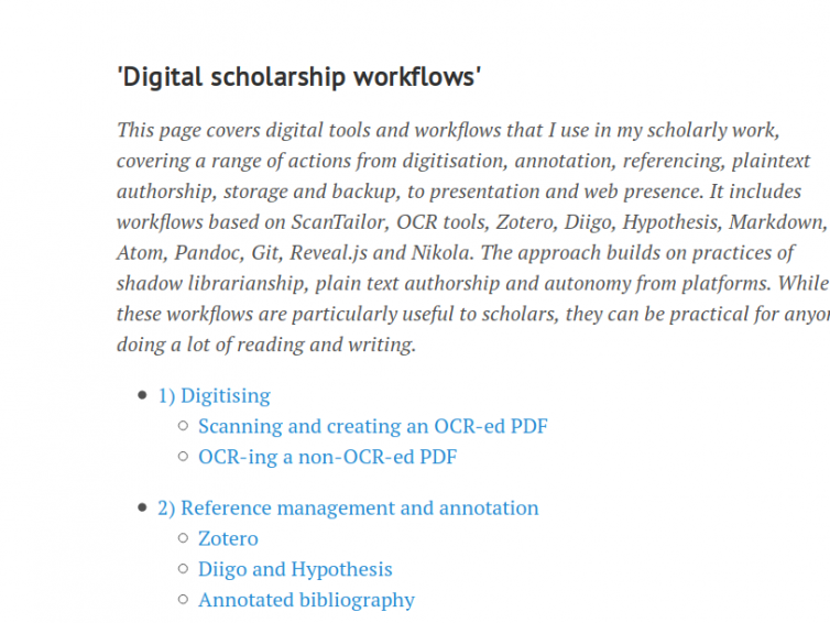 Digital scholarship workflows